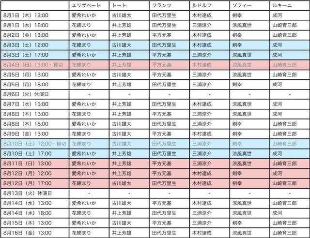 エリザベートキャストスケジュール8月1.JPG